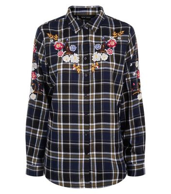 Blue Check Floral Embroidered Shirt New Look
