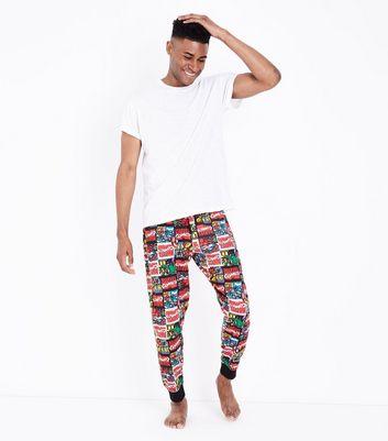 Multi Colour Marvel Print Pyjama Joggers New Look