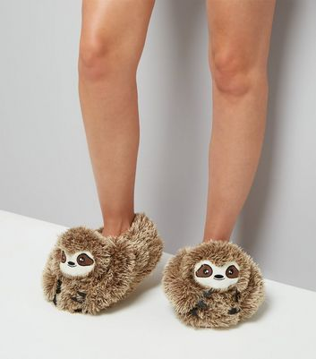 Brown Fluffy Sloth Slippers New Look