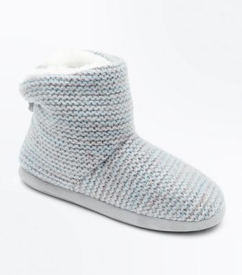 Grey Knitted Slipper Boots New Look
