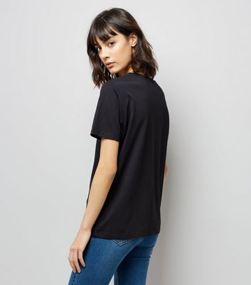 Tall Black Mesh Yoke T-Shirt New Look