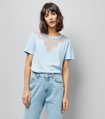 Blue Scalloped Mesh Panel T-Shirt New Look