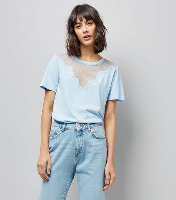 Blue Scalloped Mesh Panel T-Shirt New Look