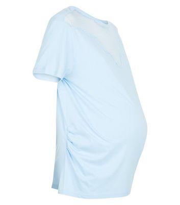 Maternity Pale Blue Mesh Yoke T-Shirt New Look