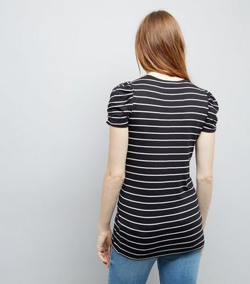 Maternity Black Stripe Ruched Sleeve T-Shirt New Look