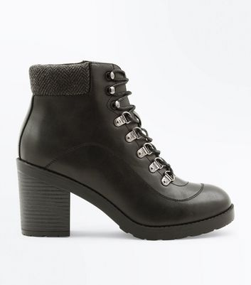 Black Lace Up Heeled Hiker Boots | New Look