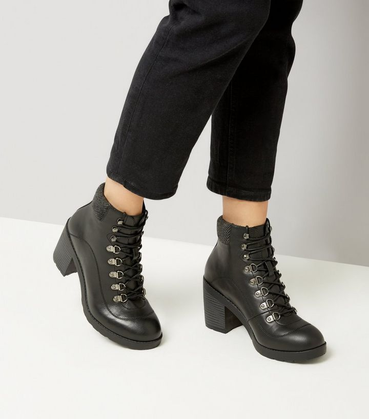850246f1fe8e0 Black Lace Up Heeled Hiker Boots | New Look