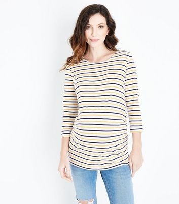 Maternity Yellow Stripe 3/4 Sleeve T-Shirt New Look