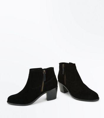 Black Suede Block Heel Western Boots New Look
