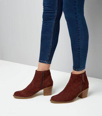 Burgundy Suede Block Heel Western Boots New Look
