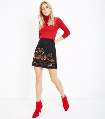 Black Embroidered Suedette Mini Skirt New Look