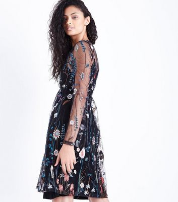 Blue Vanilla Black Floral Embroidered Dress New Look