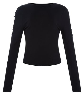 Teens Black Cut Out Long Sleeve Top New Look