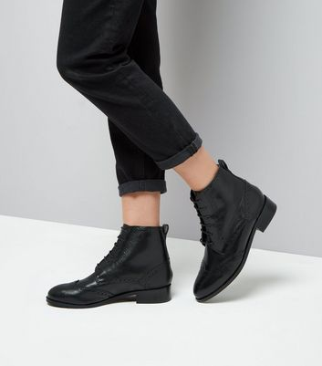 Black Leather Lace Up Brogue Boots New Look