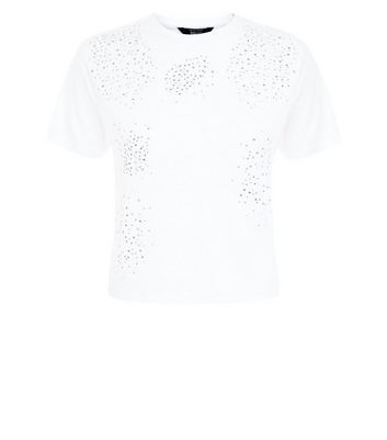 Teens White Gem Embellished T-Shirt New Look