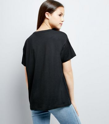 Teens Black Lace Up Front Oversized T-Shirt New Look
