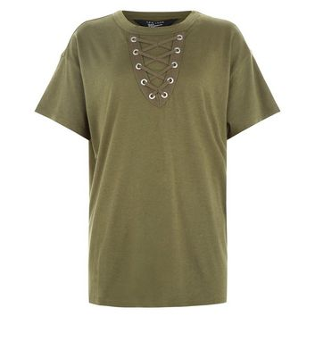 Teens Khaki Lace Up Front Boyfriend T-Shirt New Look
