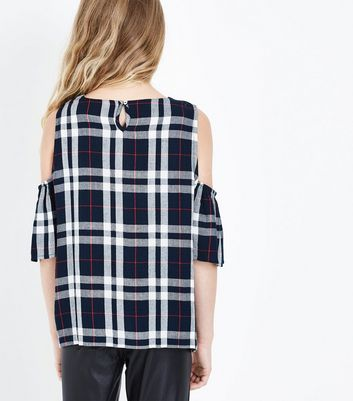 Teens Blue Embroidered Check Cold Shoulder Top New Look