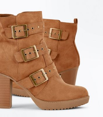 Tan Suedette Stud Buckle Heeled Ankle Boots New Look