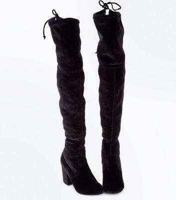 Black Velvet Over The Knee Heeled Boots New Look