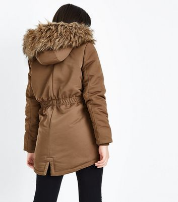 Teens Camel Faux Fur Trim Hooded Parka New Look