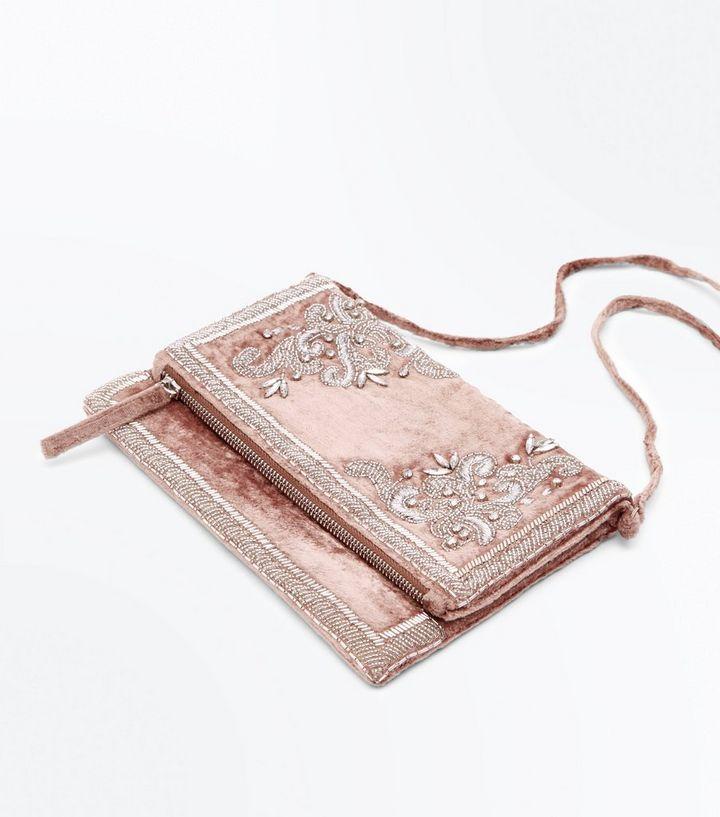 9465b5fd4a46f Shell Pink Velvet Embellished Foldover Clutch Bag