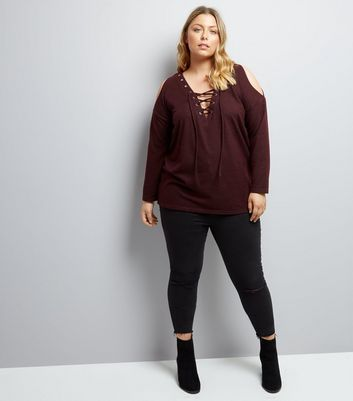 Curves Burgundy Lattice Front Cold Shoulder Jumper New Look
