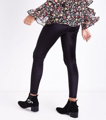 Black Velvet High Waist Leggings New Look