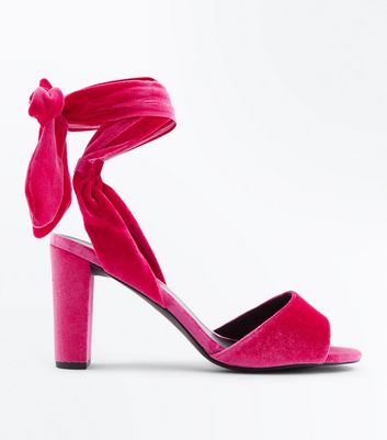 Wide Fit Pink Velvet Tie Up Block Heel Sandals New Look