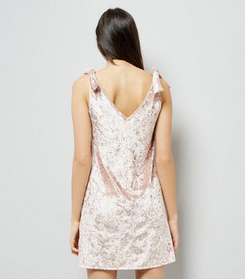 Shell Pink Velvet Tie Shoulder Dress New Look