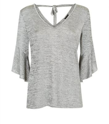 Grey Bell Sleeve Top New Look