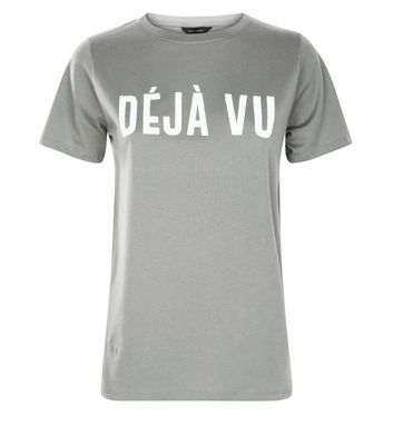 Khaki Deja Vu Slogan T-Shirt New Look
