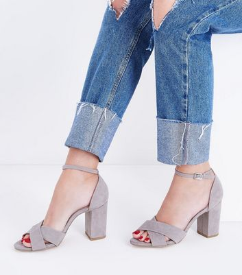 Wide Fit Grey Comfort Suedette Cross Strap Sandals New Look