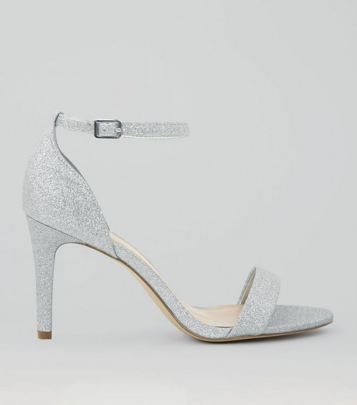 dc6f3758cab Wide Fit Silver Glitter Ankle Strap Heels