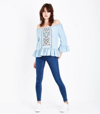 Pale Blue Floral Embroidered Peplum Hem Denim Top New Look