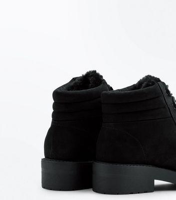 Teens Black Suedette Faux Fur Trim Boots New Look