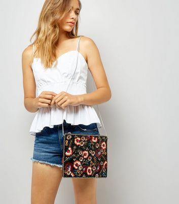 Black Floral Embellished Tassle Clutch Bag New Look