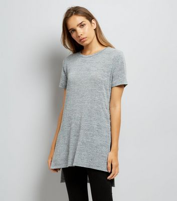 Pale Grey Lace Up Side Longline T-Shirt New Look