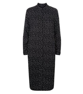 JDY Black Grain Print Shirt Dress New Look