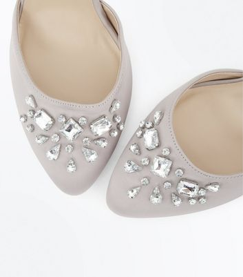 Wide Fit Grey Satin Embellished Court Shoes New Look