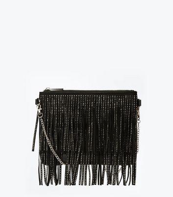 Black Diamante Double Fringe Shoulder Bag New Look