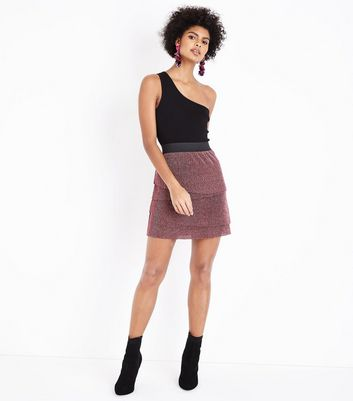 JDY Pink Tiered Ribbed Skirt New Look