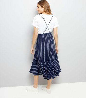 Navy Stripe Pinafore Midi Dress New Look
