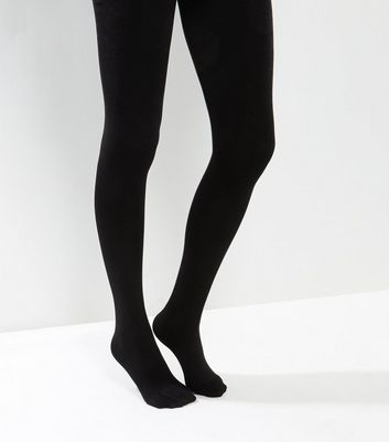Black Fleece Lined Tights New Look