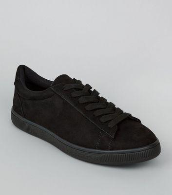 Baskets noires à lacets en suédine New Look