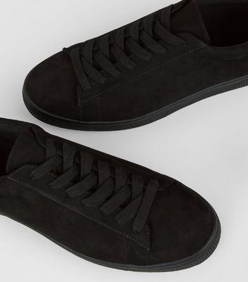 Black Suedette Lace Up Trainers New Look