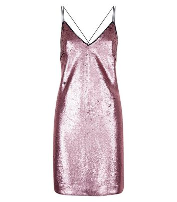 Rose Gold Premium Sequin Slip Dress New Look