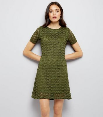 Mela Green Leaf Lace Shift Dress New Look
