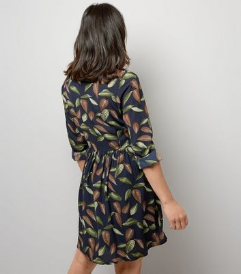 Mela Navy Leaf Print Shirt Dress New Look
