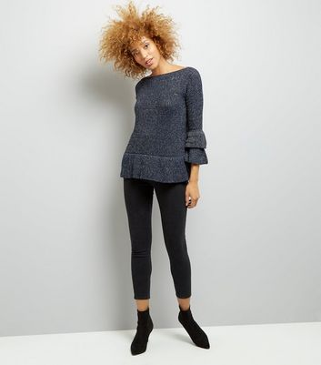 Mela Navy Frill Bell Sleeve Fine Knit Jumper New Look